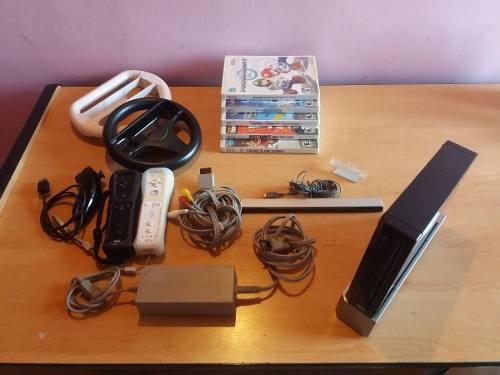 Nintendo Wii Mario Kart Con 5 Juegos Originales Y Accesorios
