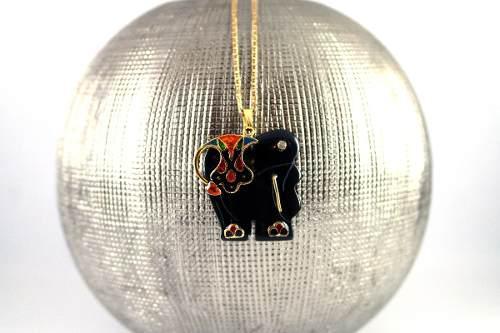 Dije De Elefante De Onix Piedra Natural Con Collar