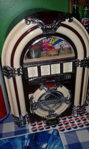 Mini Rockola Vintage Coleccion Radio Cd, Mp3 Bluetooth Trump