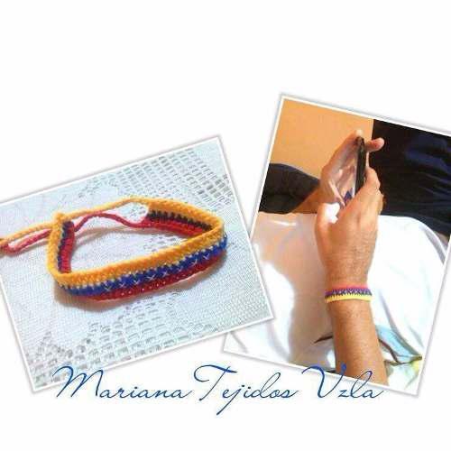 Pulseras De Venezuela Tejidas Tricolor