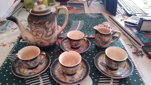 Juego De Tazas De Té De Porcelana China Con Borde De Oro
