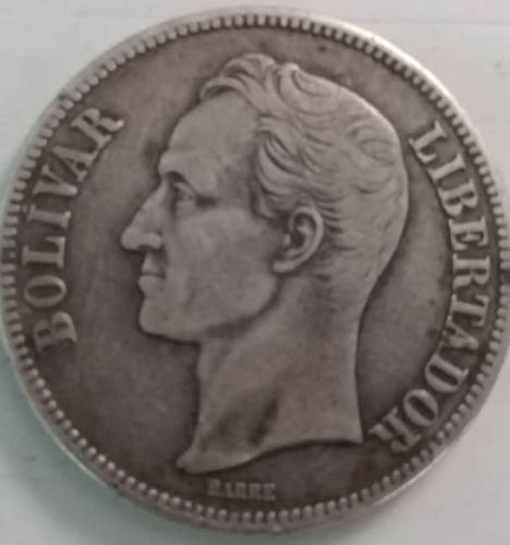 Moneda De 5 Bs. (fuerte De Plata Año  Alto).