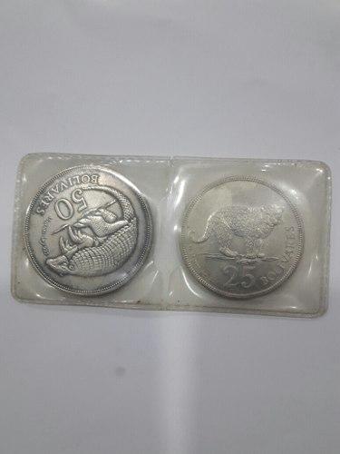 Monedas De  De 50 Y 25 Bolivares Tigre Y Cachicamo