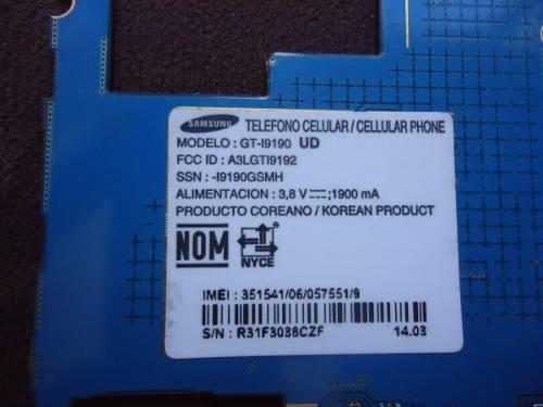 Placa Madre Samsung S4 Mini Gt-i9190 Dañada. Para Repuesto