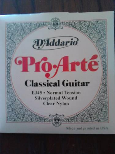Daddario Proarte Para Guitarra Clasica Ej45 Nylon Selladas.