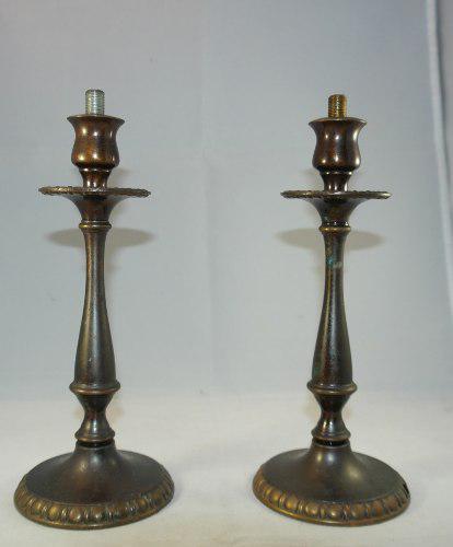 Dos Bases Para Lámparas De Bronce En Forma De Candelabro
