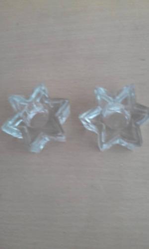 Par De Candelabros De Vidrio En Forma De Estrella