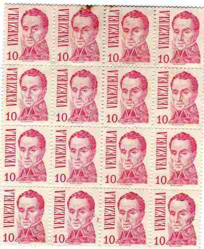 Lote Completo 16 Estampillas Simon Bolivar