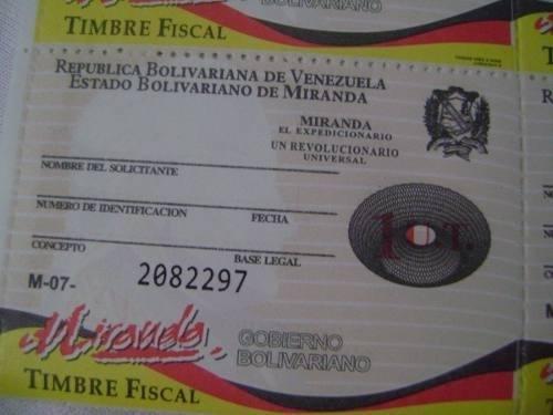 Timbre Fiscal 1 Y 2 Unidades Tributaria Miranda