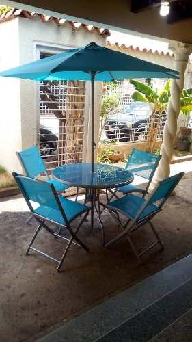Juego De Jardin (4 Sillas, 1 Mesa Y 1 Sombrilla) Color Azul