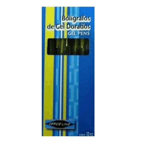 Boligrafos De Gel Escarchados Officeline Dorado