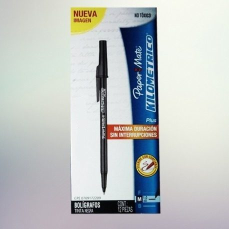 Boligrafos Kilometricos Paper Mate 12 Unidades Color Negro