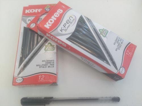 Boligrafos/lapiceror Kores Negro Cajas De 12 Unidades. K1-f