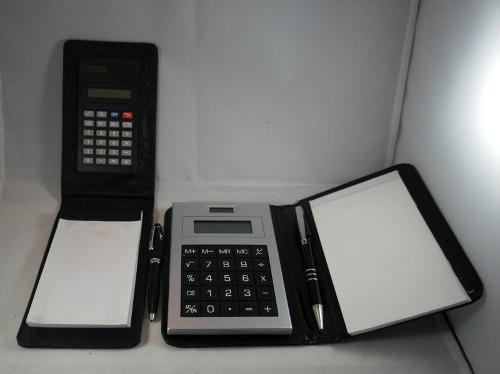 Libretas De Semicuero Con Calculadora Y Bolígrafo.