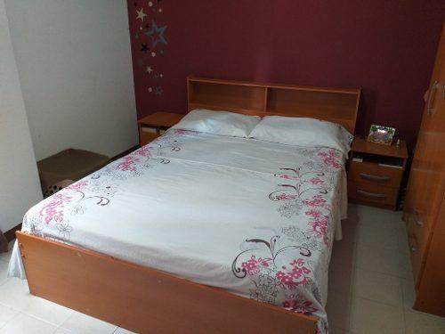 Juego De Cuarto Dormitorio Matrimonial Color Cerezo En Mdf