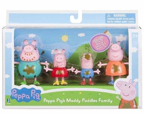Set De Figuras De Peppa Pig Charcos Fangosos. Paquete De 4