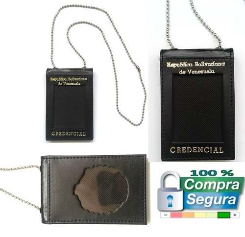 Porta Credencial En Semi Cuero Sin Escudo Con Cadena