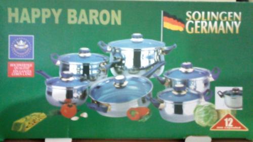 Juego De Ollas 12 Pzas Happy Baron Tapas De Vidrio Lar