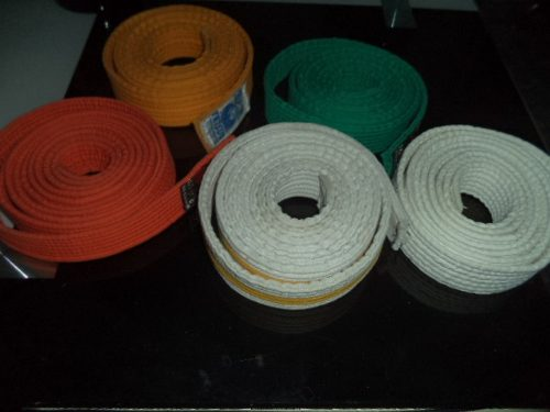Cintas Para Karate Kimono, Blanco, Raya Amarilla, Verde