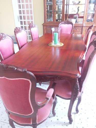 Muebles De Comedor, Ceibó Y Vitrina Estilo Luis Xv