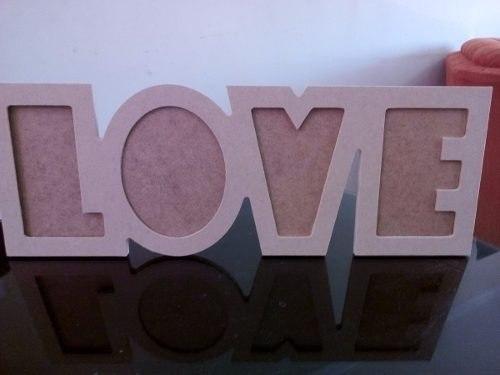 Portaretrato Love En Mdf Crudo