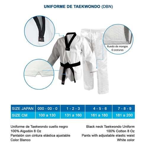 Uniforme Bushido De Taekwondo Talla 1, 2 Y 3