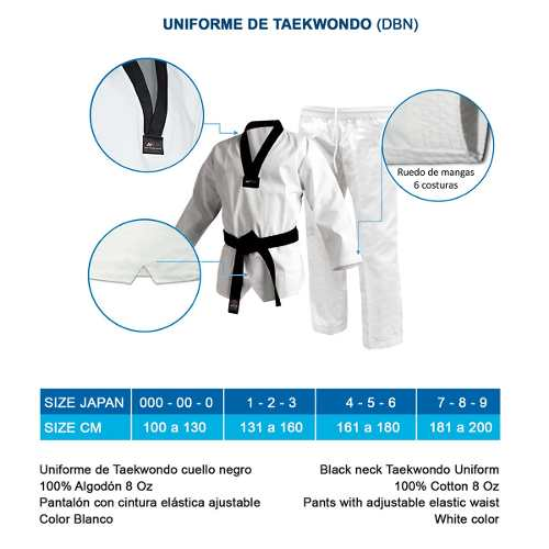 Uniforme Bushido De Taekwondo Talla 4, 5 Y 6