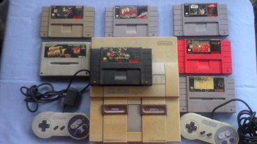 Super Nintendo Snes Dos Controles 7 Juegos