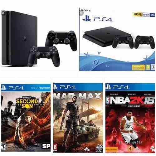 Playstation 4 Ps4 Con Dos Controles Y 3 Juegos
