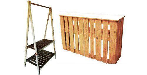 Combo Rack Perchero Exhibidor Escritorio Palet Desarmable