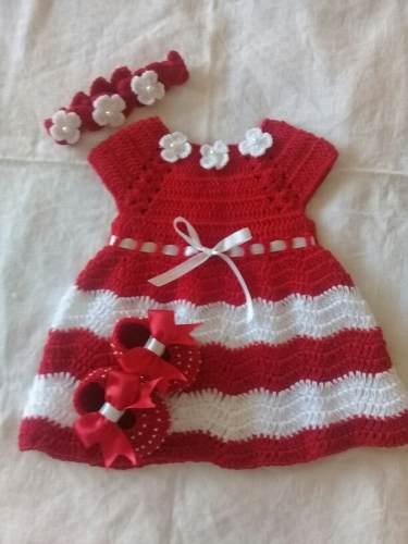 Vestido Tejido A Crochet De 0 A 3 Meses 38 Mil Soberanos