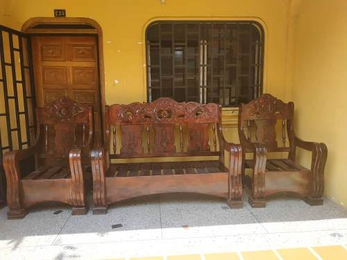 Juego De Muebles Sala Porche Madera Rustica Saman
