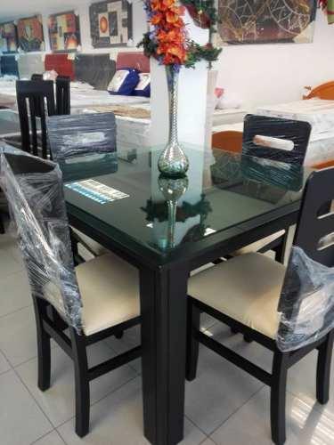 Mesa Comedor 4 Puestos Con Cristal
