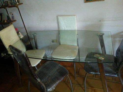 Mesa Comedor De Vidrio 4 Puestos