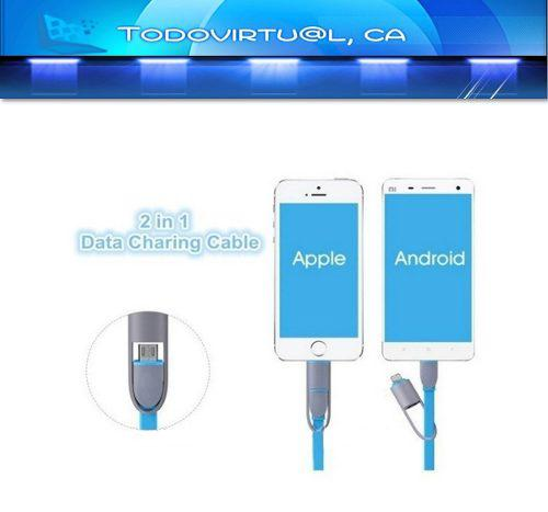 Cable Carga Samsung Y Iphone 2 En 1 Micro Usb Datos Celular