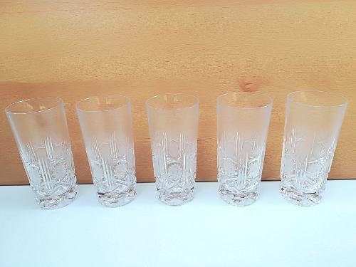 Juego De 5 Vasos Altos De Cristal Bohemia