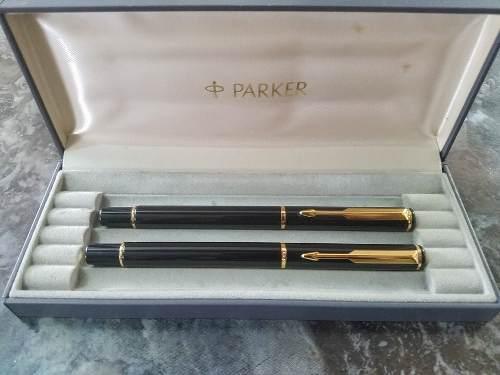 Bolígrafo Y Pluma Fuente Parker 88 Rialto Laca Negra Gt