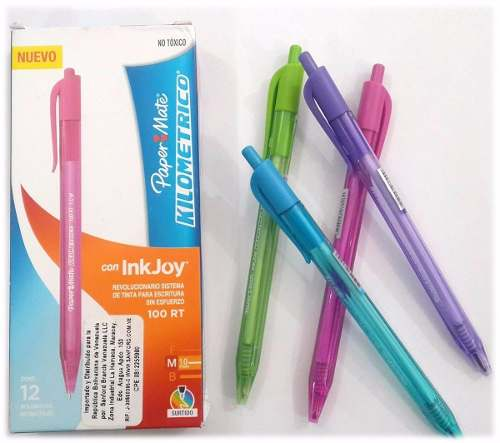 Caja De Boligrafos Papermate 100 Rt 48 Unidades Colores