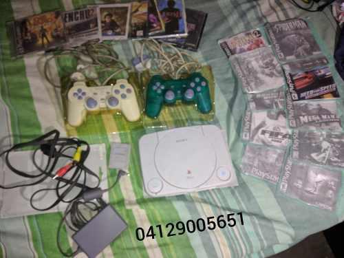 Playstation 1 Dos Controles + Memoria + 18 Juegos