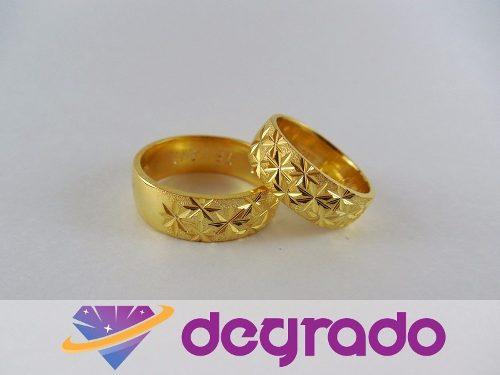 Aros Anillos De Boda Matrimonio En Plata Con Baño De Oro