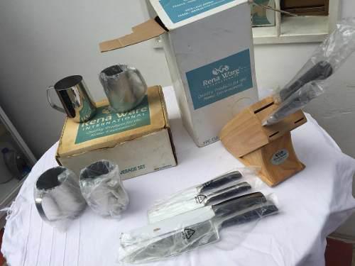 Juego De Ollas Rena Ware (cuchillos, Vasos, Rallo Y Colador)