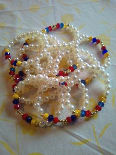 Pulseras Tricolor De Perlas De Venezuela, De Swaroski