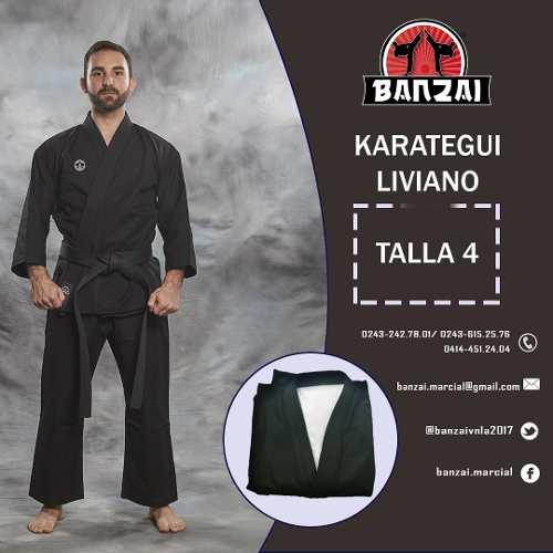 Karategui Banzai Negro - Pesado- Talla 4 Al 6