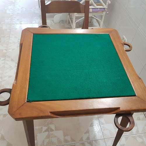 Mesa De Madera Plegable Para Jugar Domino Con Sus 4 Sillas