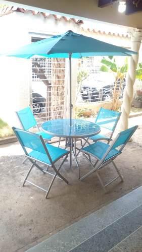 Juego De Jardín De 4 Sillas, 1 Mesa, 1 Sombrilla