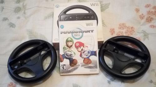 Juego Super Mario Kart Wii + 2 Volantes Wii (todo Original)