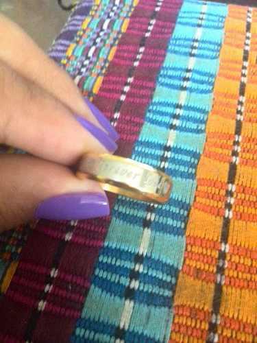Anillo De Laminado De Oro 18k Y Plata 925 Con Grabado
