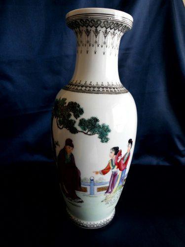 Hermoso Jarron De Porcelana China, 26 Cm. Perfecto Estado.