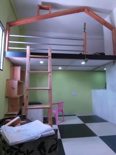 Casa Cama Individual Para Niños En Madera Pino