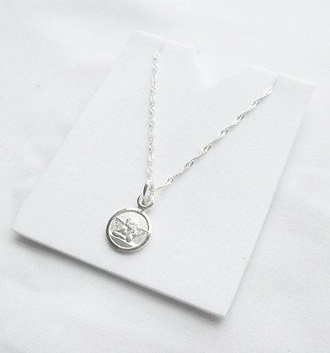 Cadena 45 Cms Plata Italy + Medalla Angel De Guarda